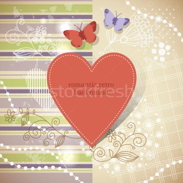 グラフィック コラージュ 蝶 フローラル 要素 花 ストックフォト © Lenlis