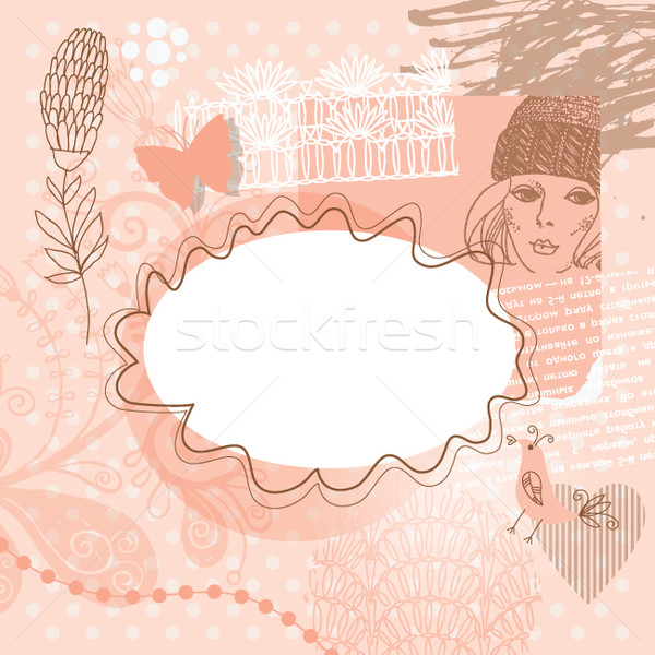 Abstract background with floral elements, scrap template Stock photo © Lenlis