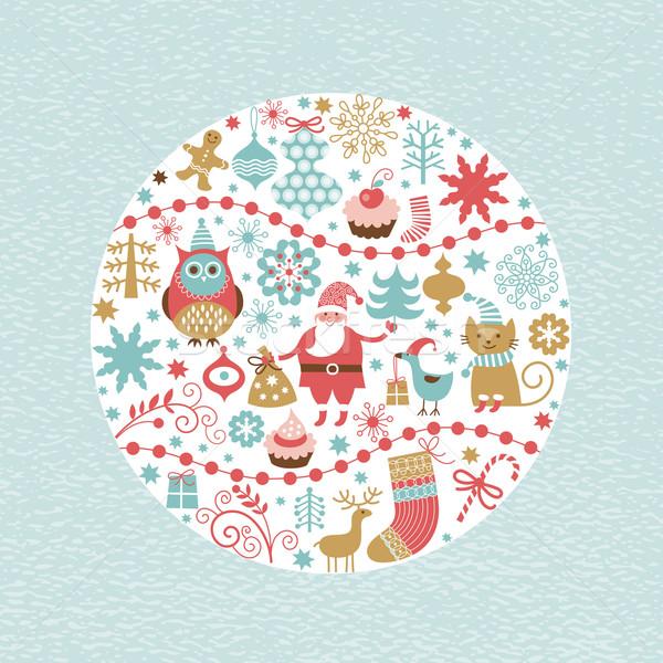 Noël nouvelle année fête chat Photo stock © Lenlis