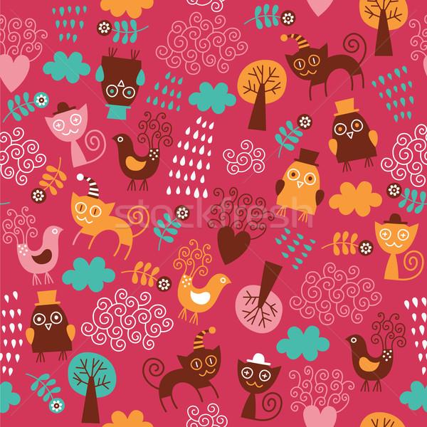 Animais bonitos flores floresta abstrato gato Foto stock © Lenlis