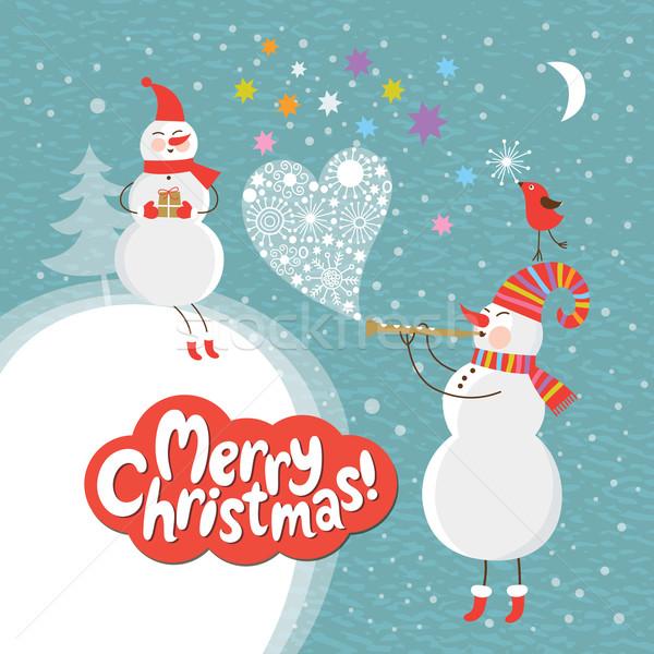 Noël nouvelle ans carte amour coeur Photo stock © Lenlis