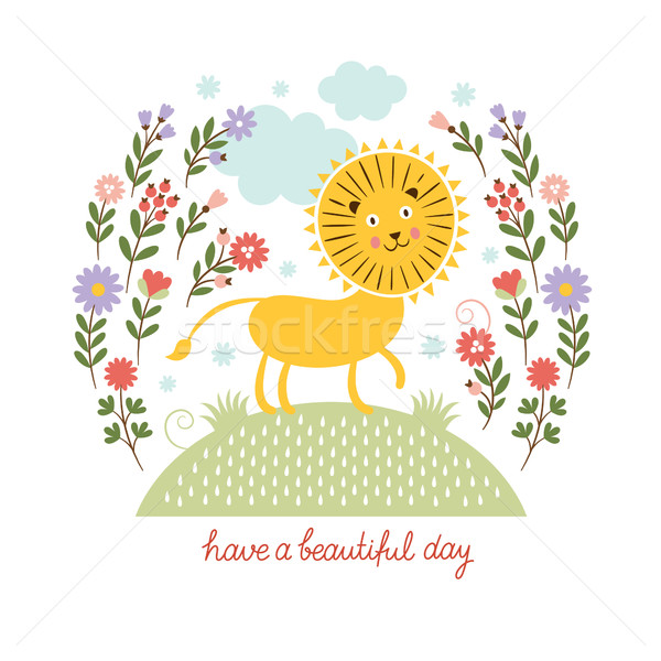 かわいい ライオン 花 花 子供 太陽 ストックフォト © Lenlis