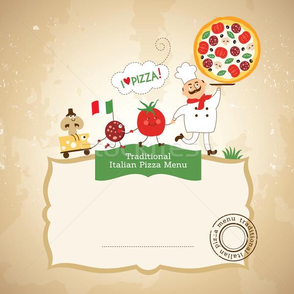 ピザ 実例 食品 ワイン キッチン レストラン ストックフォト © Lenlis
