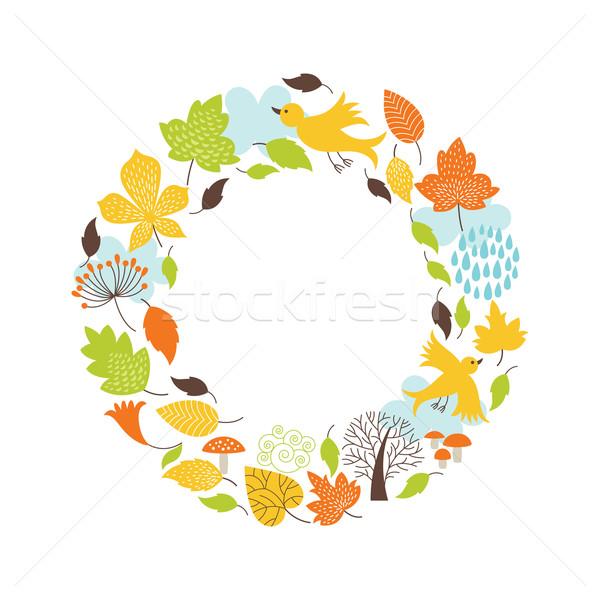 Stock photo: Autumnal round frame
