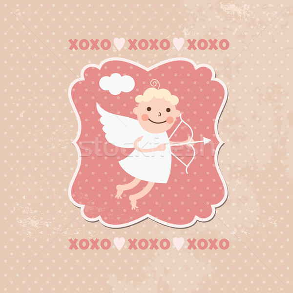 ストックフォト: バレンタインデー · カード · 中心 · フレーム · レトロな · 矢印