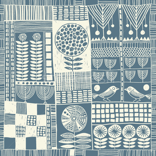 seamless pattern in style of patchwork Stock photo © Lenlis