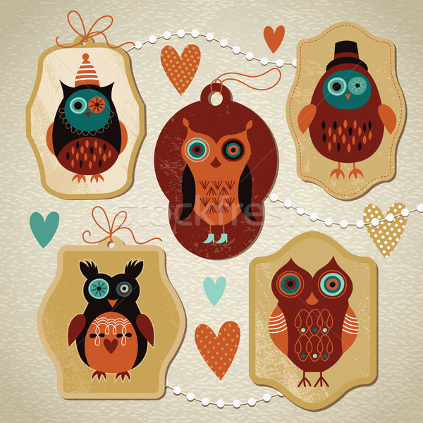 Vector collection of owls Stock photo © Lenlis