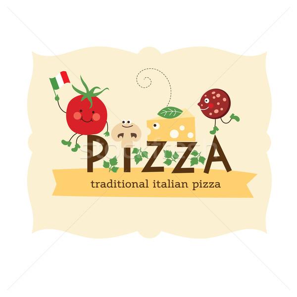 Pizza karikatür malzemeler mutfak domates pişirme Stok fotoğraf © Lenlis