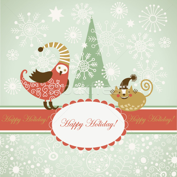 cute animals for greeting christmas card Stock photo © Lenlis