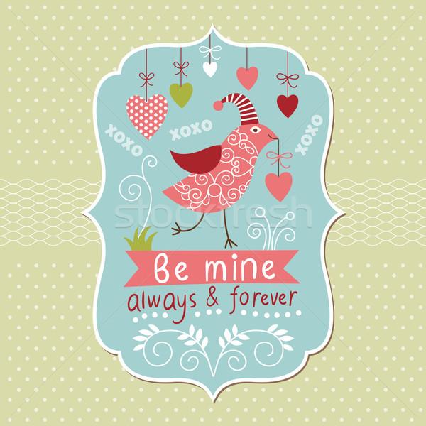 バレンタインデー カード 幸せ 中心 背景 鳥 ストックフォト © Lenlis