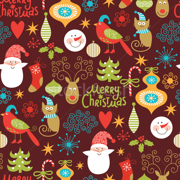 seamless background, Christmas and New Year's decorative elements Stock photo © Lenlis
