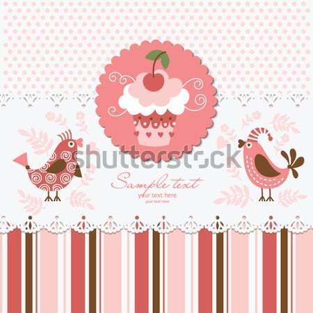 Romántica retro tarjeta aves papel aumentó Foto stock © Lenlis