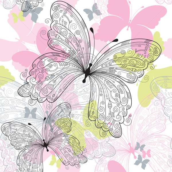seamless background with butterfly  Stock photo © Lenlis