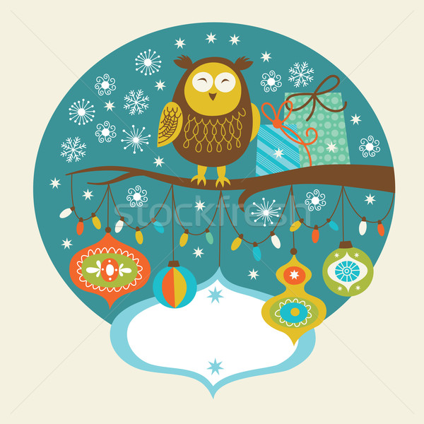 Cute owl on the branch, Greeting card Stock photo © Lenlis