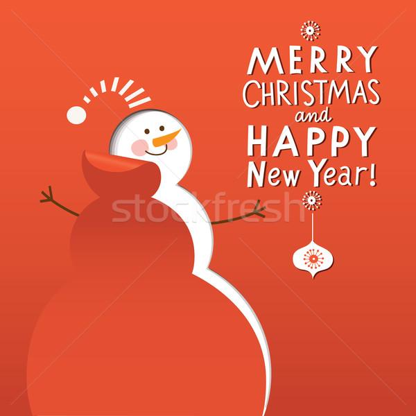 Noel yılbaşı kart mutlu dizayn siluet Stok fotoğraf © Lenlis