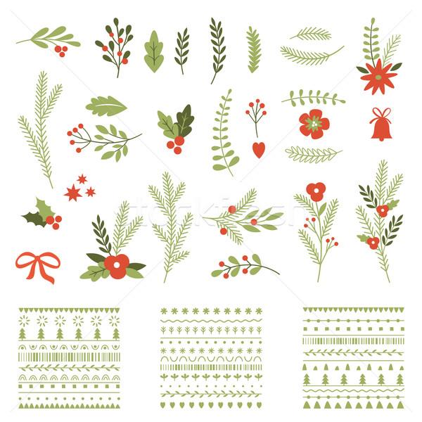 セット クリスマス グラフィック 要素 レトロな ストックフォト © Lenlis
