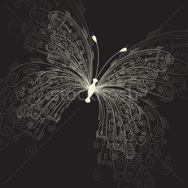 Kelebek siyah çiçek mutlu sanat güzel Stok fotoğraf © Lenlis