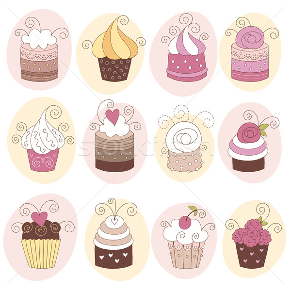 set of 12 cute cupcakes Stock photo © Lenlis
