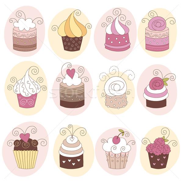 Conjunto 12 bonitinho rosa feliz Foto stock © Lenlis
