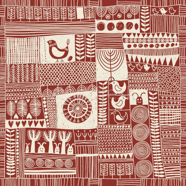 Style patchwork beauté tissu rétro Photo stock © Lenlis