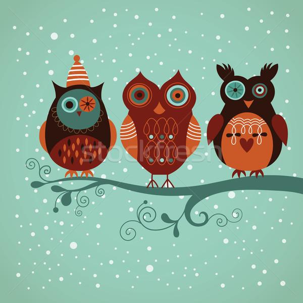 3  かわいい ベクトル フクロウ ツリー 冬 ストックフォト © Lenlis