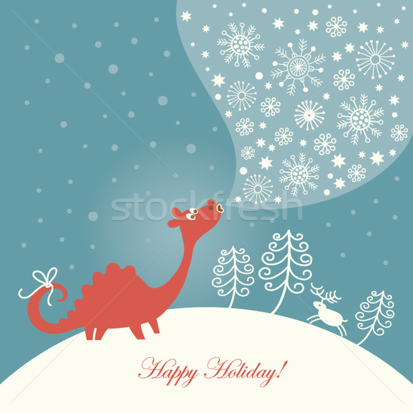 cute snowy dragon  Stock photo © Lenlis