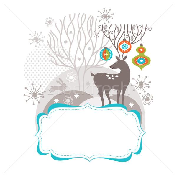 Stok fotoğraf: Tebrik · Noel · yeni · yıl · kart · ağaç