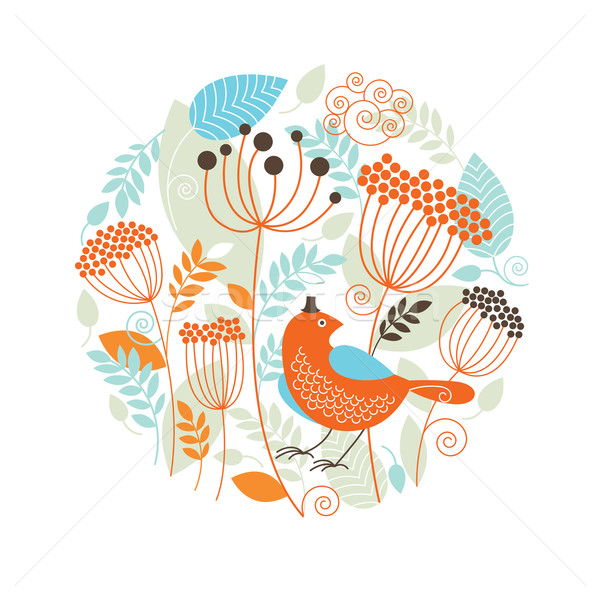 Floral illustration with the birds  Stock photo © Lenlis