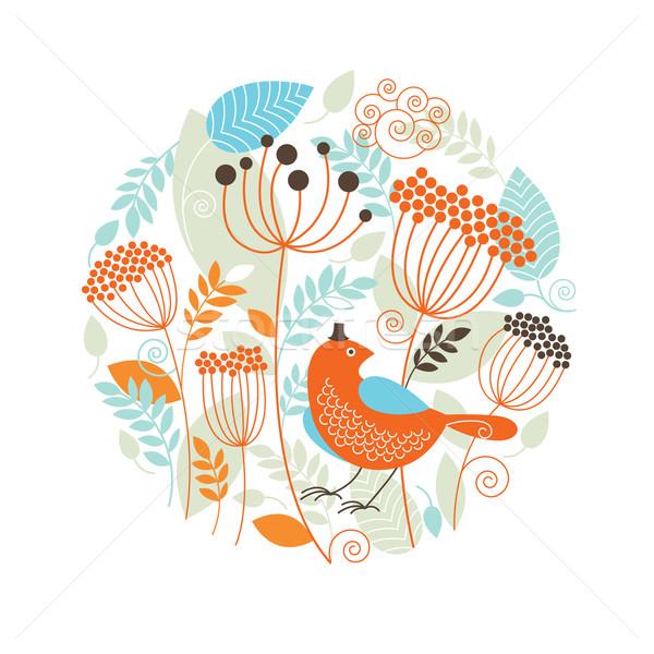 フローラル 実例 鳥 森林 抽象的な デザイン ストックフォト © Lenlis