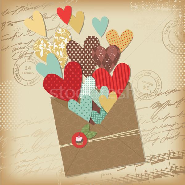 Retro scrapbooking elements, Valentine card Stock photo © Lenlis