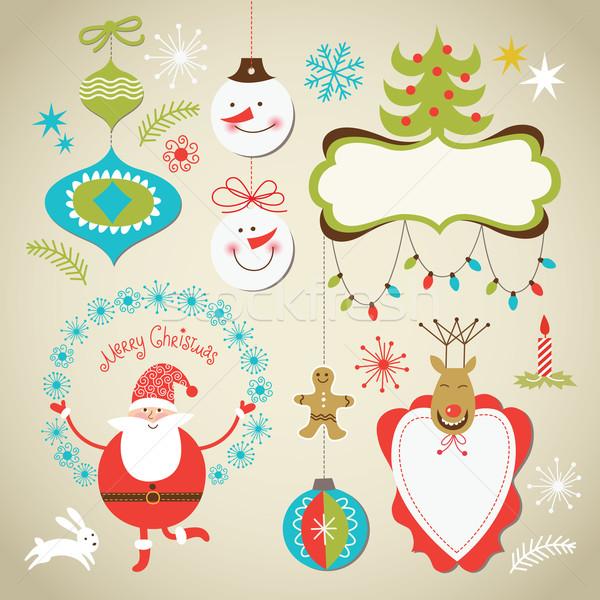 ストックフォト: セット · クリスマス · 要素 · かわいい · フレーム