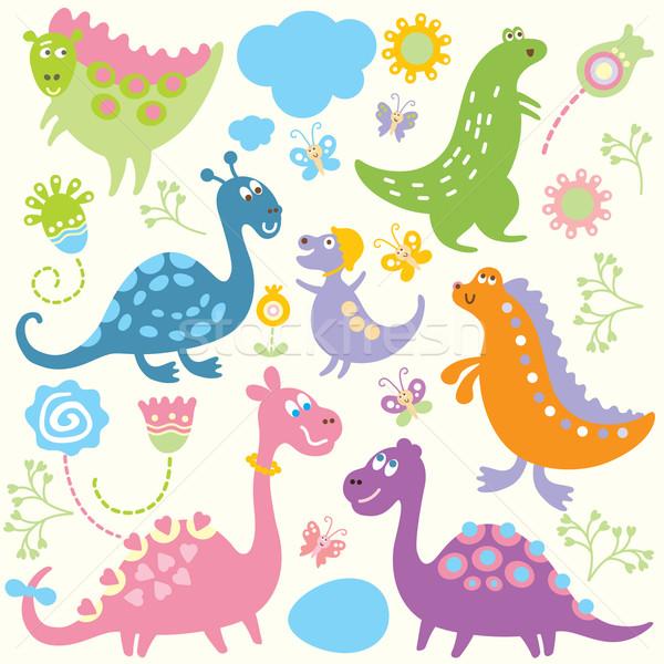 Foto d'archivio: Cute · dinosauri · fiore · cat · sfondo · animali