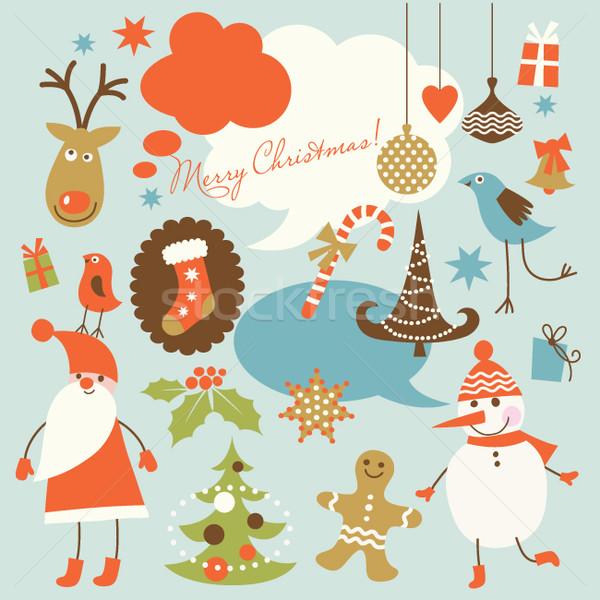 Foto stock: Navidad · colección · iconos · nieve · fondo · retro