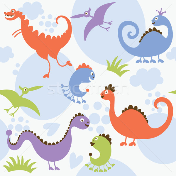 Stock photo: seamless pattern with dinosaurs