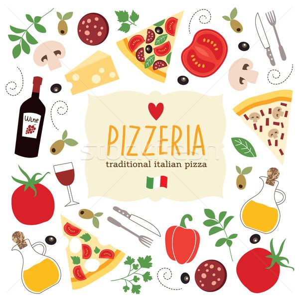 Pizza banner alimentos vino cocina restaurante Foto stock © Lenlis
