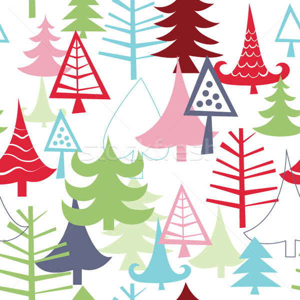 Bezszwowy christmas drzewo tle dar tapety Zdjęcia stock © Lenlis