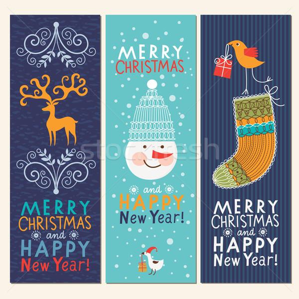 セット クリスマス 新しい 年 バナー 子供 ストックフォト © Lenlis
