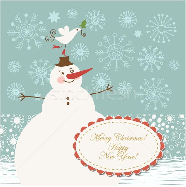かわいい 雪だるま クリスマス グリーティングカード デザイン 背景 ストックフォト © Lenlis