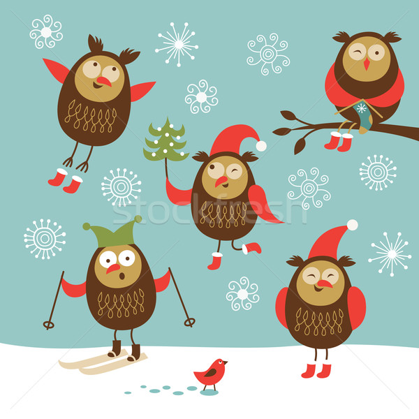 Ingesteld vector cute uilen boom kinderen Stockfoto © Lenlis