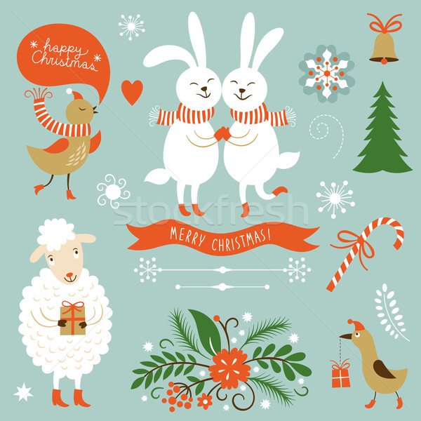 Christmas Clip Art. Letering, graphic characters, symbols Stock photo © Lenlis