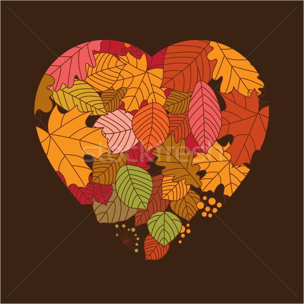 Herbstlaub Form Herz abstrakten Natur Design Stock foto © Lenlis