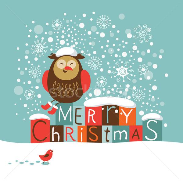 クリスマス カード 面白い フクロウ 子供 ストックフォト © Lenlis