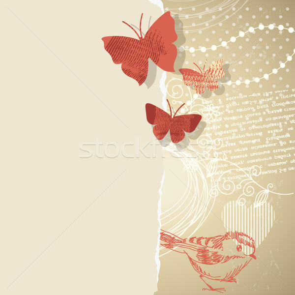 Graphique collage papillons floral fleur Photo stock © Lenlis
