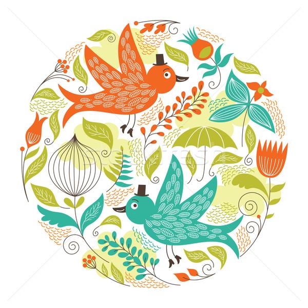 フローラル 実例 鳥 花 デザイン 美 ストックフォト © Lenlis