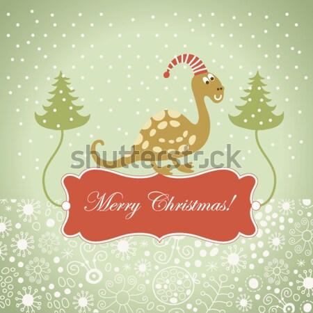 Christmas wenskaart boom baby kind vogel Stockfoto © Lenlis