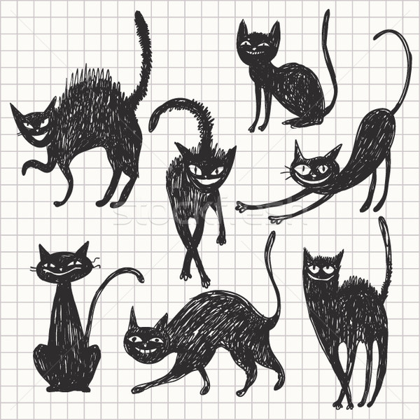 set of different black cats Stock photo © Lenlis