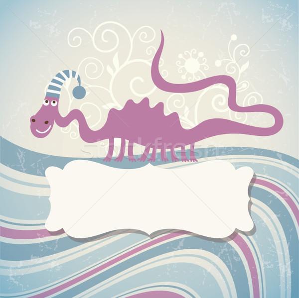 グリーティングカード フレーム 文字 冬 クリスマス トカゲ ストックフォト © Lenlis