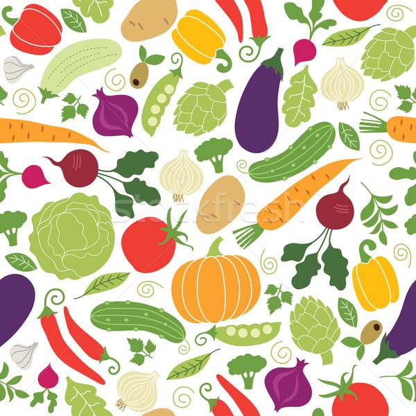 Illustraties groenten gezondheid salade eten Stockfoto © Lenlis