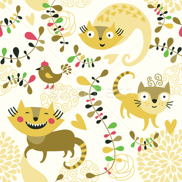 cartoon animals, seamless pattern Stock photo © Lenlis