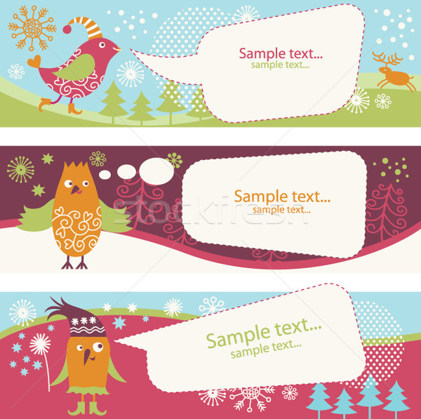 set of banners with cute birds and speech bubbles Stock photo © Lenlis